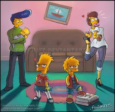 The Simpsons - sex change) by FoxShift on DeviantArt Cartoon As Anime, Cartoon Kunst, Cartoon Shows, Cartoon Art, Disney Pixar, Disney Cartoons, Cartoon Crossovers, Cartoon Characters, The Simpsons