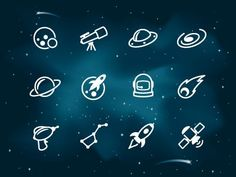 A set of space icons set atop a starry night background. App Design, Icon Design, Logo Design, Graphic Design, Design Ideas, Small Icons, Doodle Icon, Line Icon, Tattoo Inspiration