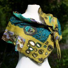 Shawl, nuno felt, mustard, teal, purple, brown, handcrafted, silk, wool, one of a kind, fashion, accessory