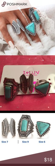 Boho Vintage Statement Fashion Rings Boho Vintage Tribal Statement Fashion Rings! Bundle of three different size boho tribe rings! Largest Ring is size 9, Medium Ring size 7, Small Ring size 6! See photo 3 for size details! Material: Alloy & Faux Turquoise! Great stocking stuffer Jewelry Rings