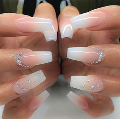 + Ideas for Coffin Shaped Nails to Rock This Summer bridal manicure idea, long coffin-style nails, with pink and white ombre-like nail polish, decorated with rhinestones and glitter - Beliebt Nagel Design Bride Nails, Prom Nails, Long Nails, Short Nails, Long White Nails, Long French Nails, Ombre French Nails, White Tip Nails, Black Nails