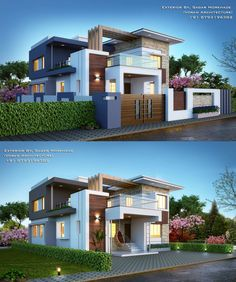 House Exterior Ideas Asian Ideas house is part of Bungalow exterior - Modern Bungalow Exterior, Modern Bungalow House, Dream House Exterior, Modern House Plans, Indian House Exterior Design, Small Bungalow, Duplex House, House Front Design, Modern House Design