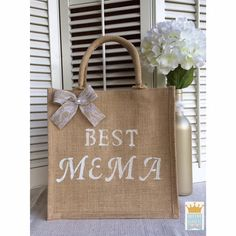 Jute Tote Mothers Day Gift Best Mema Jute Bag by QueensBanners