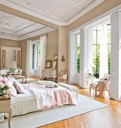 I love how spacious this room is! So open you could play a game of  In here haha! I love how pretty but hubby wouldn't go for PINK!