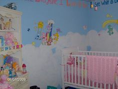 Care Bears are overkill but I like the crib