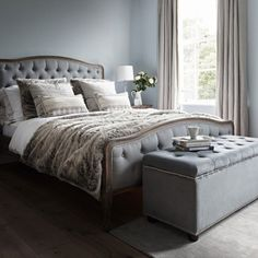 Chantal Bed - Super King Size Grey Linen