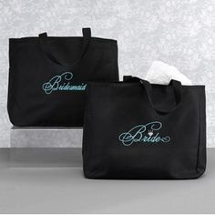 """Bridal Party Tote Bag - Bridesmaid These black tote bags have an added flair with """"Bridesmaid"""" embroidered in aqua. The tote has inner pockets and is made of 100% polyester."""