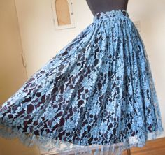 Vintage Lace Skirt, French Blue and Black, Full Skirt, Size Small to Medium, Waist 25