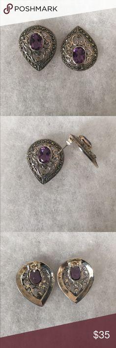 Amethyst/Marcasite Sterling Silver Earrings Teardrop shaped earrings with oval amethyst, pierced, sterling silver .925, filigree with marcasites. Jewelry Earrings