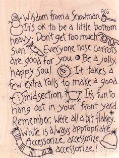Snowman Wisdom on www.addictedtorubberstamps.com