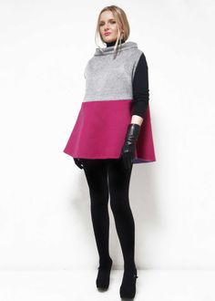 A chic wool/cashmere cape, hand-finished cape that is reversible. This beautiful cape is offered in a color-blocked and solid version. Perfect for the woman who wants to lady-like and fabulous all at the same time. Cashmere Cape, Elegant Outfit, Skater Skirt, Beautiful Dresses, High Neck Dress, Wool, Chic, Lady, Skirts