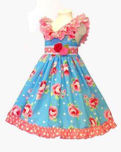 The Adele Ruffle Dress pdf sewing pattern Size 1 by BobkinDesigns