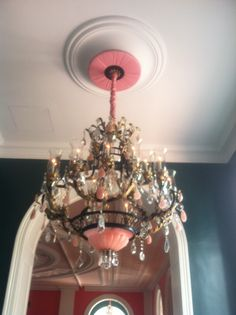 This chandelier is located in The Greenbrier's Celebrity Writing Room located off of the Cameo Ballroom.  http://www.greenbrier.com