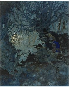 "Edmund Dulac, ""It is gold! it is gold!"" they cried, illustration for The Snow Queen, 1911 (source)"
