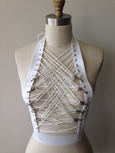 Black or White Lace Up Metal Claw Clips Bondage Fetish Goth Burlesque Corset Goth Crop Halter Top on Etsy, $125.00