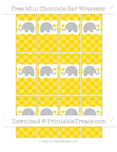 Gold Checker Pattern Elephant Mini Chocolate Bar Wrappers