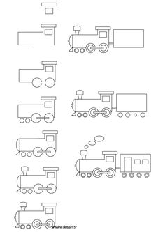 How to draw a train, step-by-step. (Click on picture, then shrink-to-fit 85% to fit on one page.) (art, kids, drawing lessons)