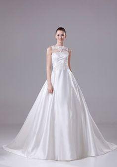 Princess Satin Tulle Bateau Natural Waist Chapel Train Backless Sleeveless Beading Lace White Wedding Dress