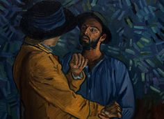 Down on the banks of the river oise, after too much moonshine around the fireplace, things get heated between Boatman (Aidan Turner) and Armand Roulin (Douglas Booth). One of the best painter-aminators from the Loving Vincent Greek Team, Nefeli Soulakeli brilliantly re-imagines Vincent's colours by firelight and really captures the tension between the two characters.