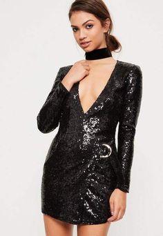 Missguided Black Sequin Plunge D Ring Wrap Dress Sexy Dresses 5d4fff5da