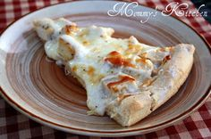 Chicken Alfredo Pizza --- (made this tonight and it was amazing, great idea to put slices of cheese on the pizza!)
