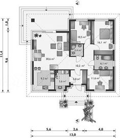 Rzut parteru projektu Kwadra - murowana – ceramika Floor Plans, Log Projects, Houses, Floor Plan Drawing, House Floor Plans