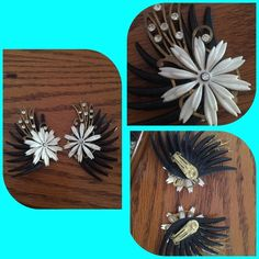 large 50s German plastic rhinestone clip earrings Very large vintage 1950s German plastic rhinestone white black and gold clip on They are from my personal collection and one of my favorite earrings. They measure 3 inches long and are so glorious! You are sure to be noticed with these bad boys.    Asking $35 which includes shipping Vintage Jewelry Earrings