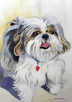 yorkie dogs paint picture - Hada Googlom