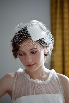 Ivory Teardrop Hat with a Birdcage Veil. Wedding by AgnesHart