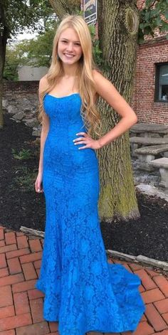2020 Spaghetti Straps Long Backless Prom Dresses Custom Made Long Mermaid Lace Evening Gowns Fashion Long School Dance Dresses Pagent Dresses Blue Lace Prom Dress, Prom Dress With Train, Straps Prom Dresses, Prom Dresses For Teens, Backless Prom Dresses, Pageant Dresses, Dance Dresses, Strapless Dress Formal, Dress Prom