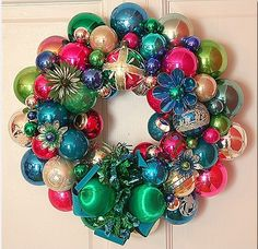 vintage christmas balls wreath
