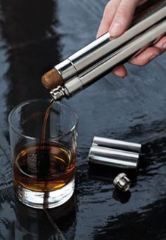 Harrison Stainless Steel Cigar Holder and Flask by Viski Makes A Very Trendy And Sophisticated Gift