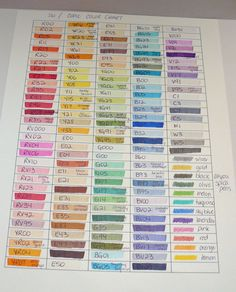 Stampin Up/Copic Marker Chart by Hairchick on Etsy