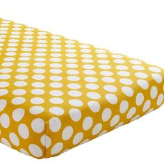 The Land of Nod | Baby Sheets: Yellow Dotted Fitted Crib Sheet in Crib Fitted Sheets