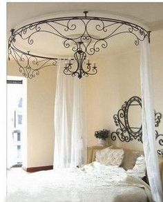 The Continental Iron Bed mantle frame princess mosquito net bed mantle Wrought Iron Princess Bed mantle Korean bed mantle Princess yarn - Taobao Wrought Iron Beds, Wrought Iron Decor, Rod Iron Decor, Home Design Decor, House Design, Interior Design, Home Decor, Luxury Interior, Design Design