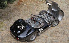 Maserati Tipo 61 Birdcage looks like a Jag D-type. Lamborghini, Ferrari, Bugatti, Classic Sports Cars, Classic Cars, Vespa, Maserati Birdcage, Convertible, Automobile