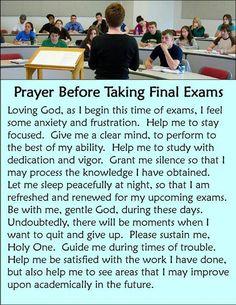 Prayer for final exam