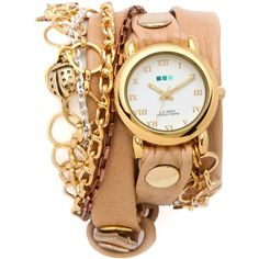 La Mer Collections Palm Springs Vintage Charms Watch - Camel/Gold (340 BRL) ❤ liked on Polyvore featuring jewelry, watches, accessories, bracelets, relojes, gold wristwatch, gold chain watches, vintage gold jewelry, wrap watch and vintage charm