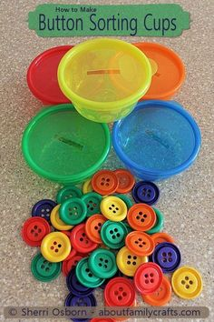 Button Sorting Cups – What a brilliant idea for your toddler/preschooler! Adding… Button Sorting Cups – What a brilliant idea for your toddler/preschooler! Adding this to our collection of activities to promote fine-motor skills and color recognition! Montessori Activities, Infant Activities, Craft Activities, Preschool Crafts, Toddler Fine Motor Activities, Learning Activities For Toddlers, Cognitive Activities, 2 Year Old Activities, Math Activities For Toddlers