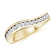 Round Diamond Wow Wedding Band in 14K Yellow Gold