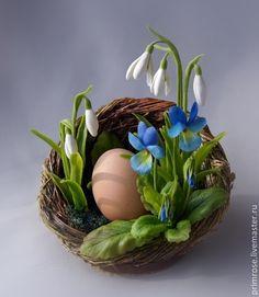 Купить ГНЁЗДЫШКО. сувенир на ПАСХУ. подставка для яйца. - Пасха, сувенир на Пасху, первоцветы, подснежники, фиалки