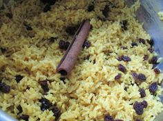 Geelrys (South African Yellow Rice With Raisins).