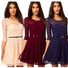 Wholesale 2015 Fashion Summer Women's Dress casual Lace Dress half sleeve Mini party dress Skirt with belt, Free shipping, $29.45/Piece | DHgate Mobile