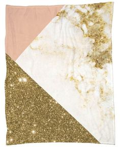 Pink and Gold Marble Collage Fleecedecke