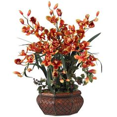 Large Cymbidium Silk Flower Artificial Flower Arrangement