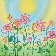 """Spring Blooms  canvas painting design - Spring Blooms 'Tweens will enjoy creating their own bit of springtime decor for their rooms. Serve pitchers of fresh lemonade and platters of fruit and light-as-air angel food cake, and you have a fun afternoon party.  CANVAS SIZE:  12"""" x 12""""  TIME TO PAINT:  approximately 2 hours"""