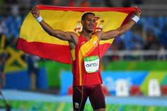 Orlando Ortega, of Spain, after winning silver in the 110m. hurdles at Rio 2016