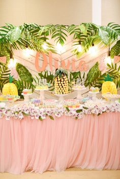 Olivia's Chic and Fab Tropical Birthday Bash | Tropical Themed Dessert Table | http://babyandbreakfast.ph/2017/11/18/olivias-chic-and-fab-tropical-birthday-bash/