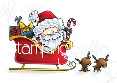 Stamping Bella Rubber stamp: THE LITTLES SANTA AND HIS REINDEER