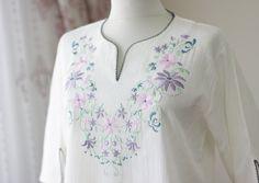Ivory cotton blouse for women, Cotton shirt, Embroidery On Clothes, Shirt Embroidery, Embroidery Fashion, Embroidery Suits Design, Embroidery Designs, Kurta Designs Women, Dress Neck Designs, Indian Designer Outfits, Cotton Blouses